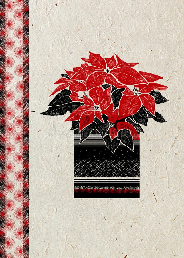 Christmas greeting card with hand drawn Poinsettia flower and festive ornament on beige rice paper background. royalty free illustration