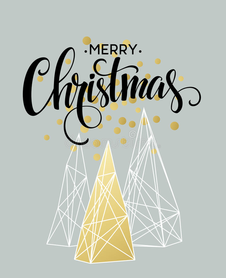 Christmas Greeting Card with handdrawn lettering. Golden, black and white colors. Trend design element for xmas vector illustration