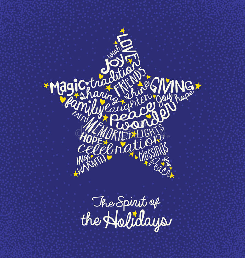 Christmas greeting card with handwritten words in star shape. Christmas greeting card with inspiring handwritten words in star shape royalty free illustration