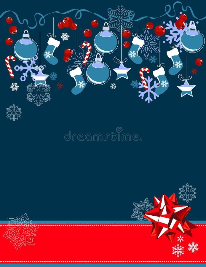 Christmas greeting card with hanging balls stock illustration