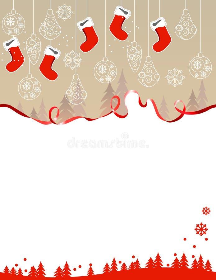 Christmas greeting card with hanging santa socks vector illustration