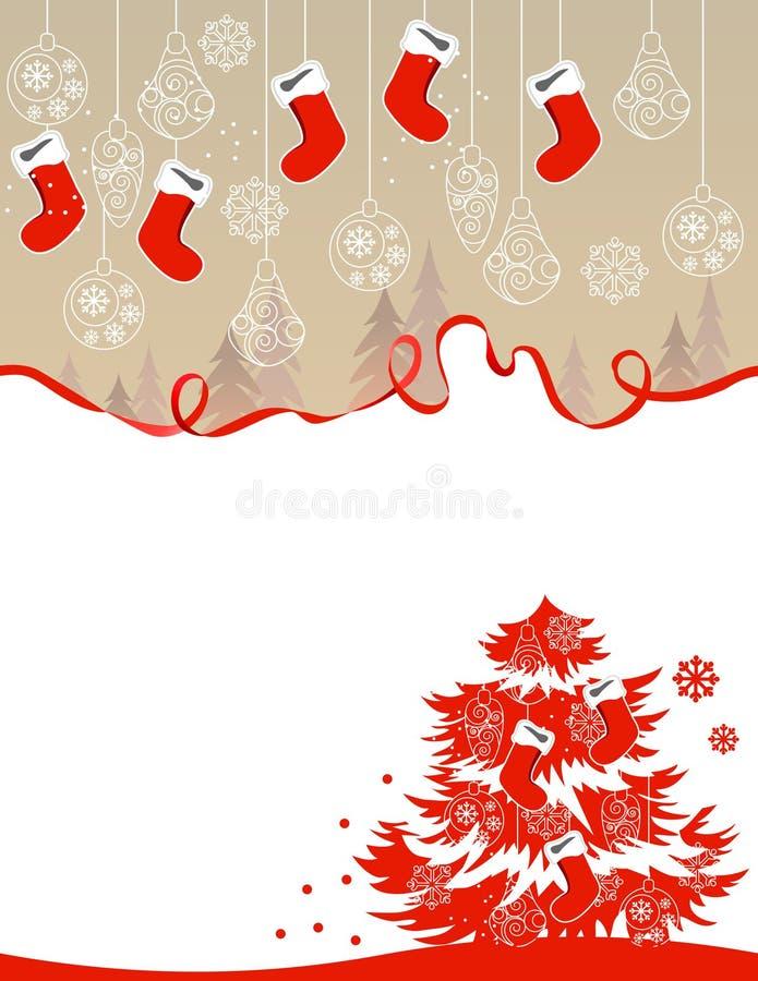 Christmas greeting card with hanging santa socks royalty free illustration