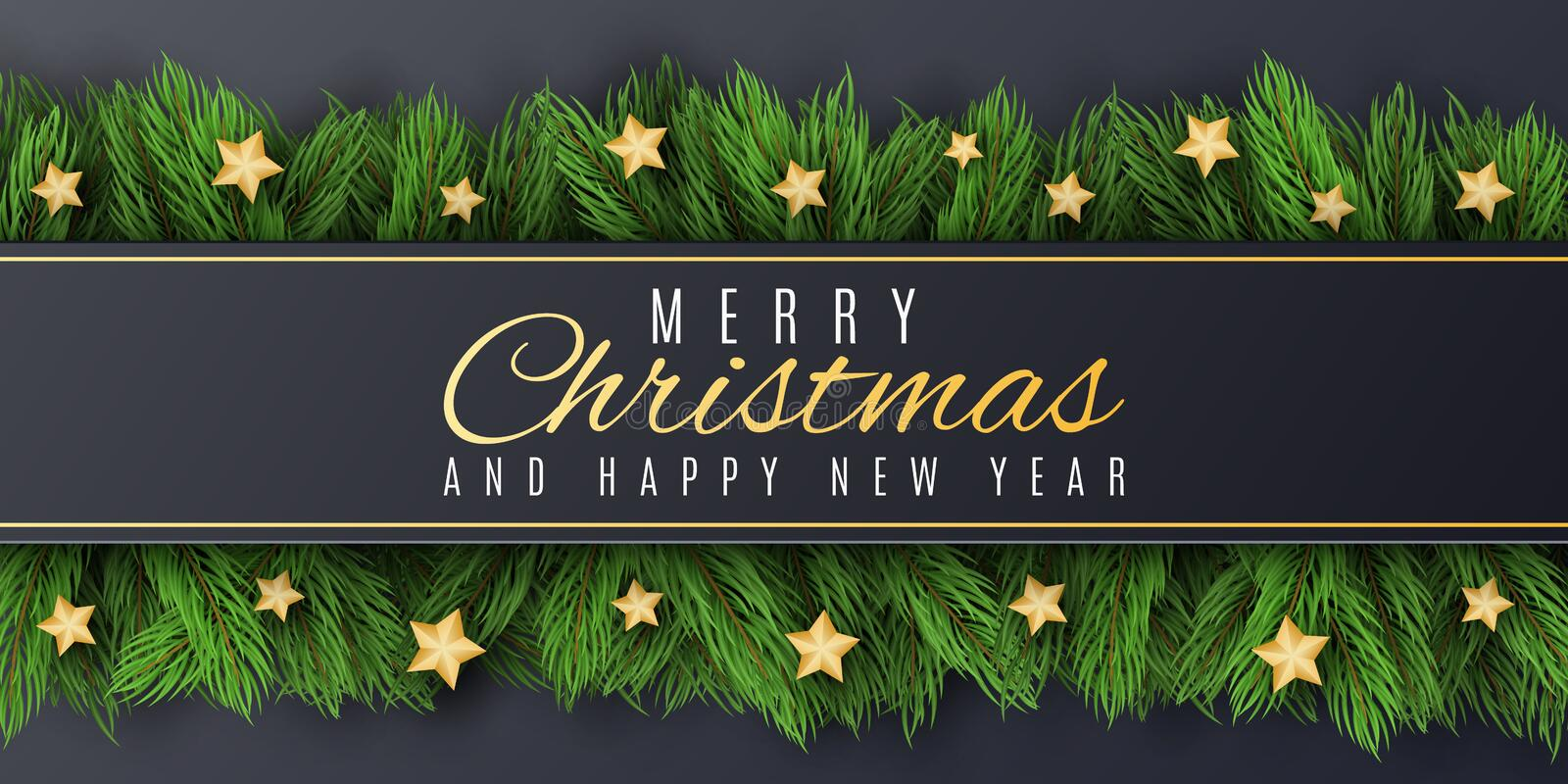 Christmas greeting card. Happy New Year 2020. Fir tree with golden stars. Festive brochure. Beautiful lettering. Vector stock illustration