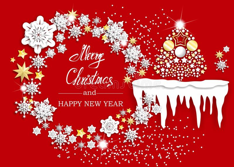 Christmas greeting card with ice and snow royalty free stock images