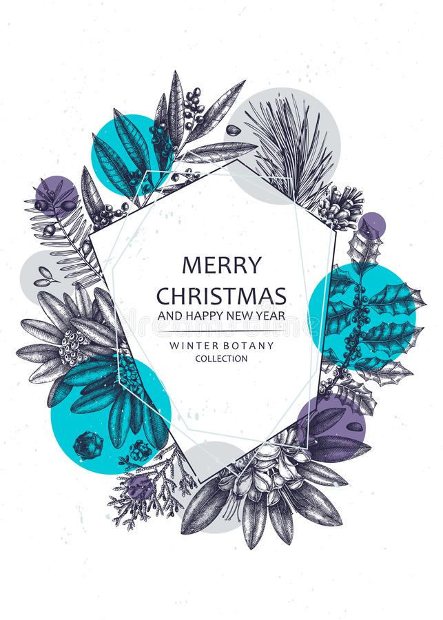 Christmas greeting card or invitation design. Vector frame with hand drawn conifers and evergreen plants. Vintage background trees stock illustration