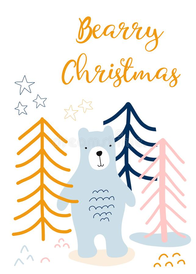 Christmas greeting card kids. Scandinavian style holiday greetings. Bear in forest hand drawn vector illustration. Berry vector illustration