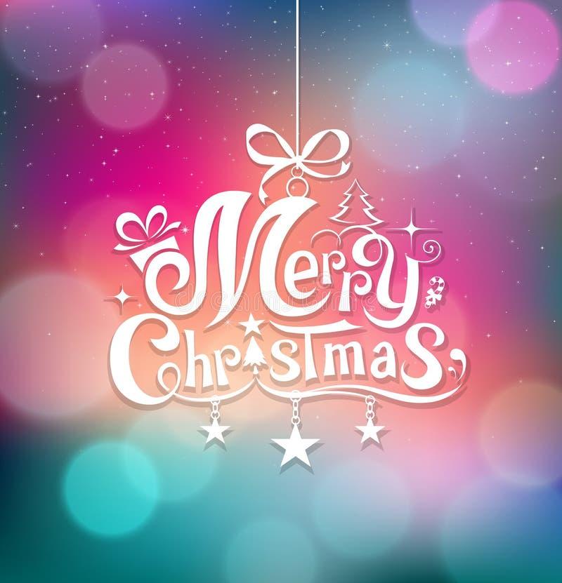 Christmas greeting card lettering design stock illustration