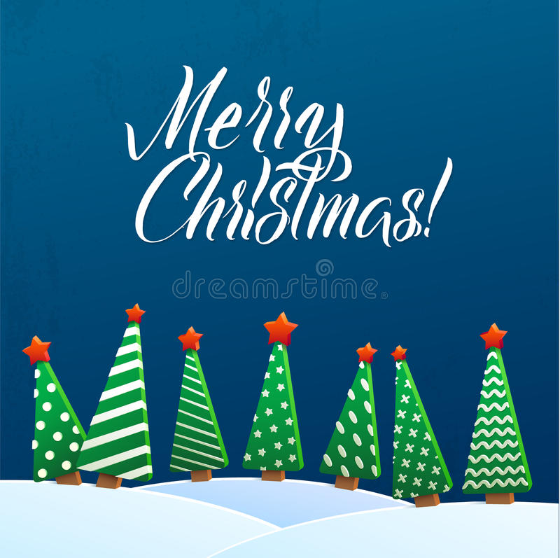Christmas Greeting Card. Merry Christmas lettering, vector illustration. Volume toys, Christmas trees and snowdrifts stock illustration