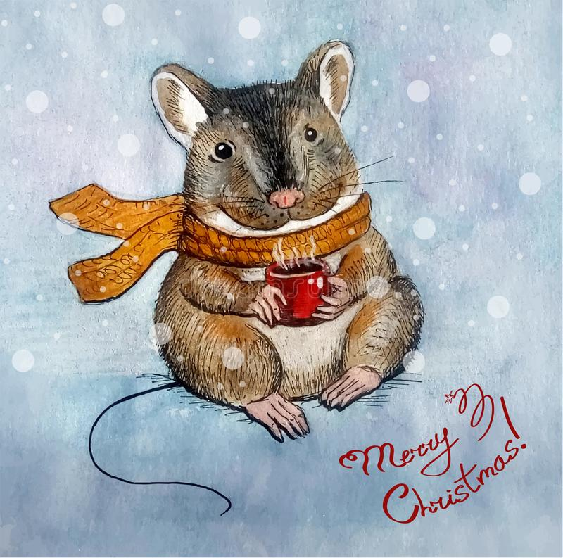 Christmas greeting card with a mouse character stock image