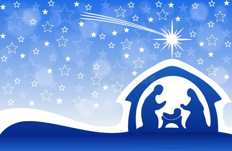 Christmas greeting card with Nativity scene stock illustration