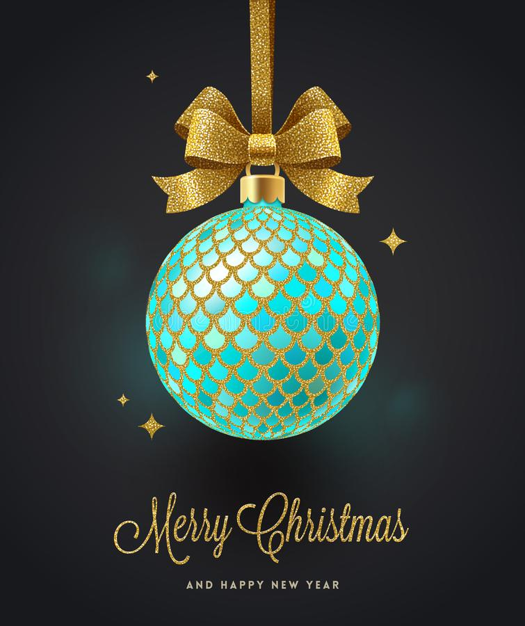 Christmas greeting card - ornate Christmas ball with glitter gold bow. royalty free illustration