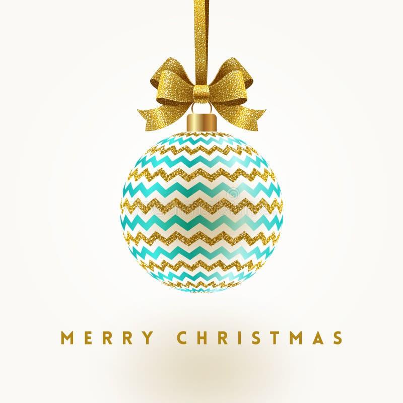 Christmas greeting card - ornate bauble hang on glitter gold ribbon. vector illustration
