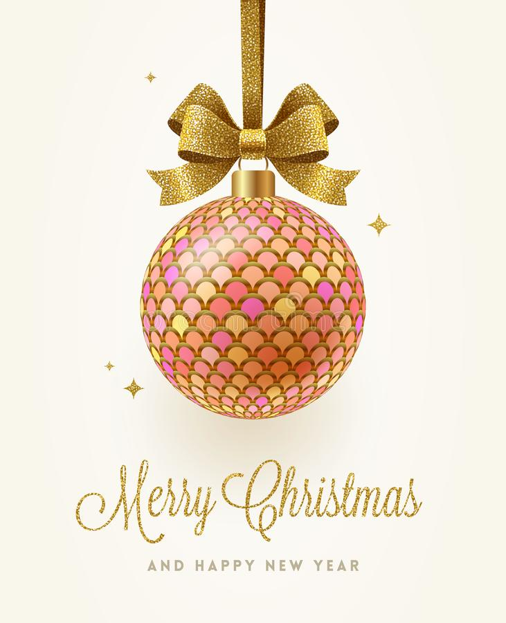 Christmas greeting card with bauble royalty free stock image
