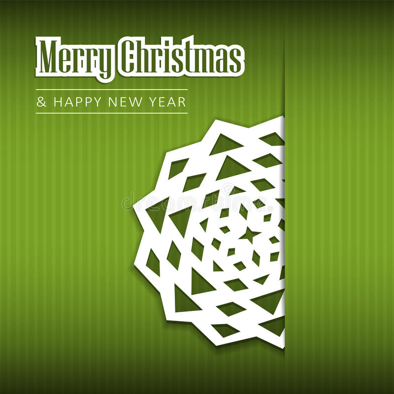 Christmas greeting card with paper snowflake, royalty free stock photo