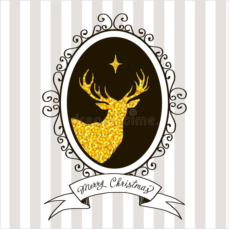 Christmas greeting card with a picture of a deer. Vector hand-drawn postcard, decor element vector illustration