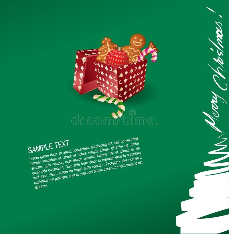 Christmas greeting card - present, sweet, gingerbr stock image