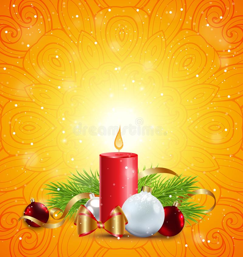 Christmas greeting card with red candle royalty free illustration