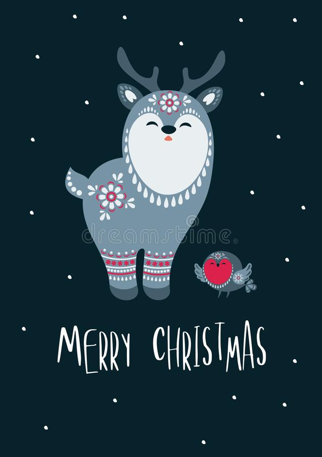 Christmas greeting card with reindeer vector illustration