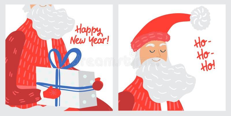 Christmas greeting card with Santa Claus cartoon character, vector illustration stock photography