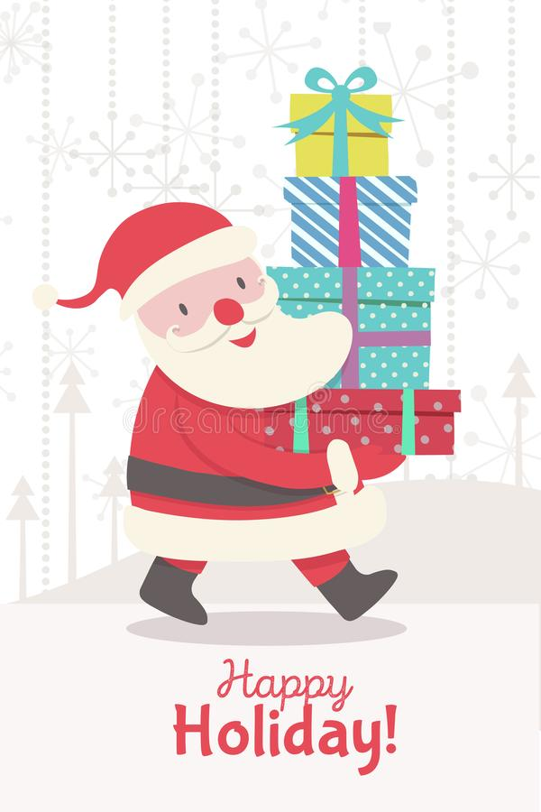 Christmas greeting card with Santa Claus and gifts. Christmas greeting card with going Santa Claus and gifts - christmas character cartoon style for banner, tag vector illustration