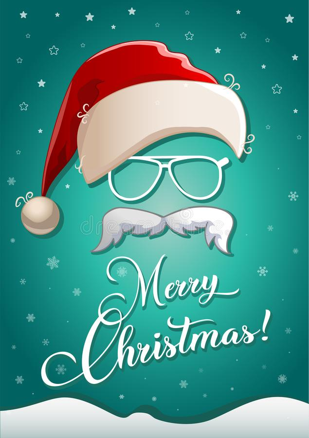 Christmas greeting card with white silhouette of santa claus hat, glasses, beard and congratulatory text vector illustration
