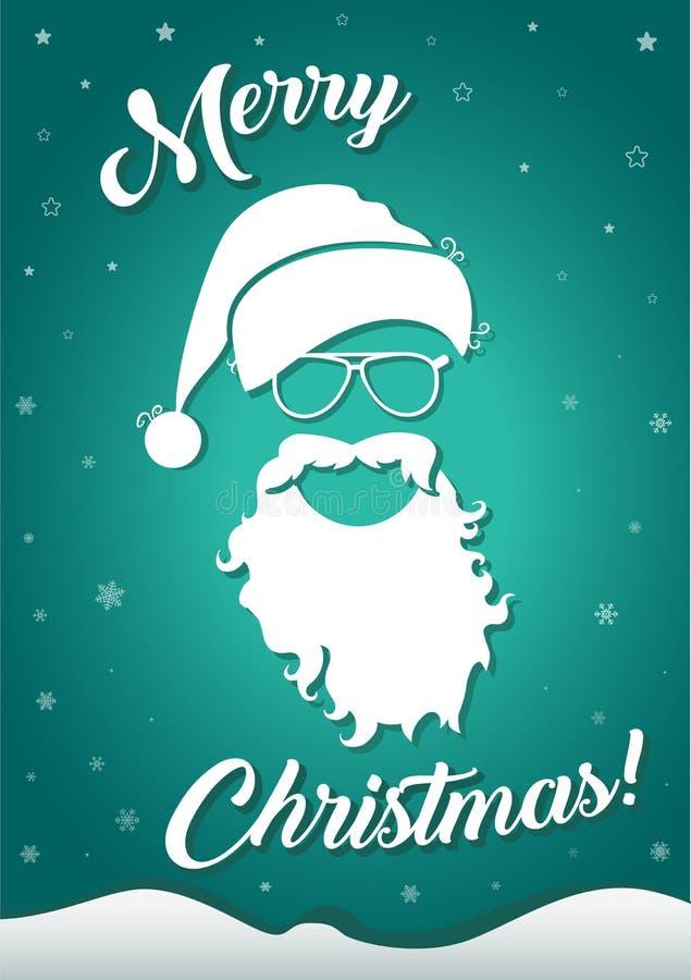 Christmas greeting card with santa hat and beard royalty free illustration