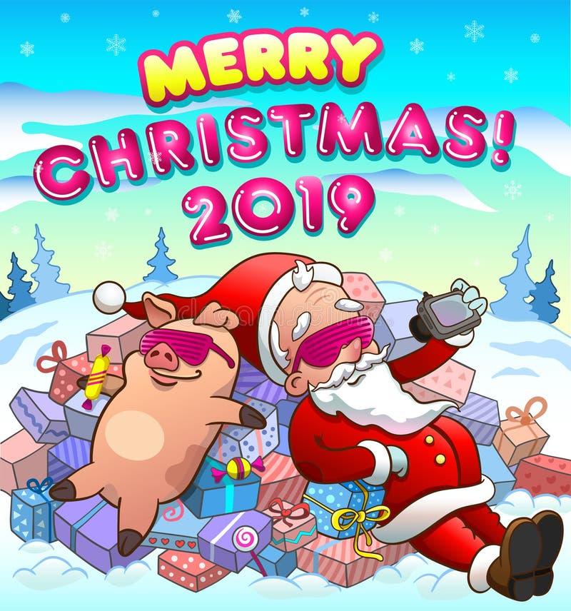 Christmas greeting card with santa and pig vector illustration