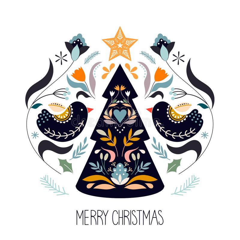 Christmas greeting card with scandinavian traditional elements royalty free illustration