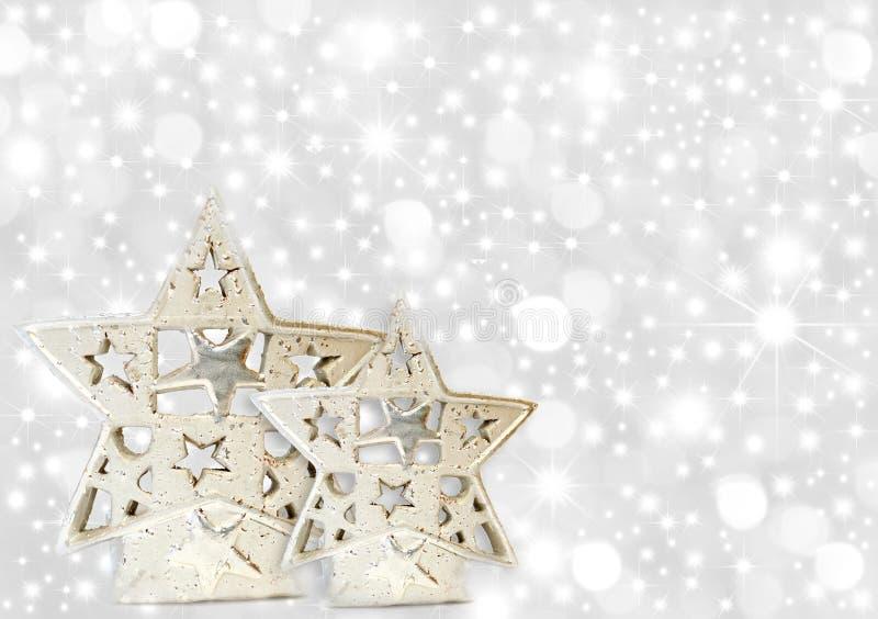 Christmas greeting card silver stars vector illustration