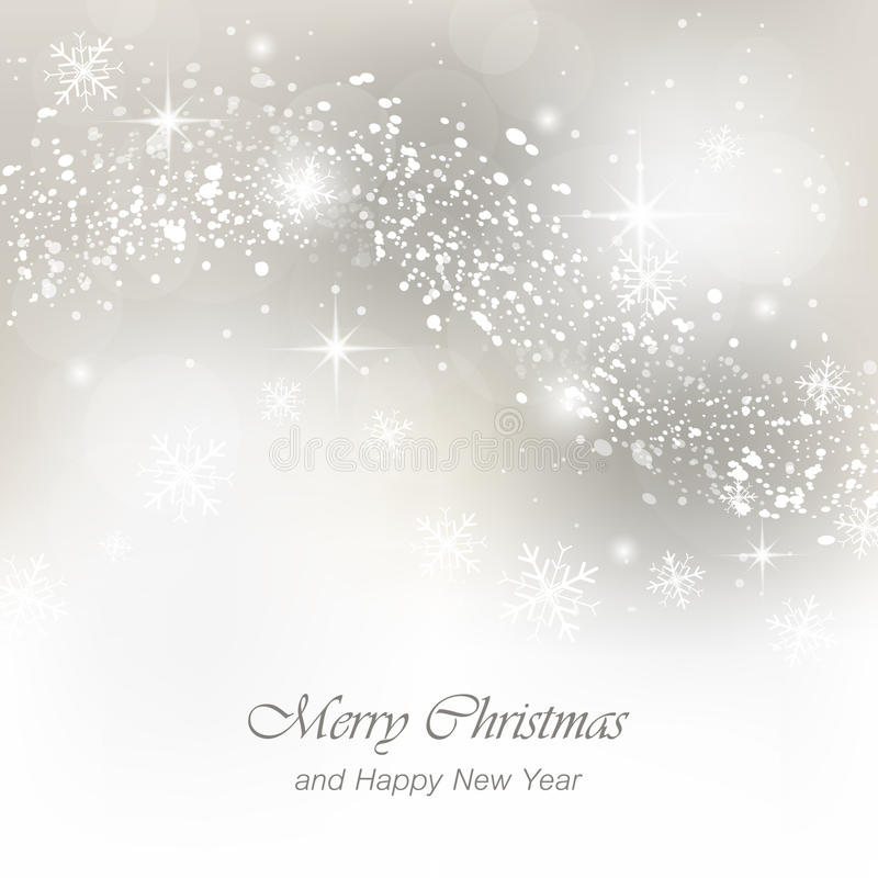 Christmas greeting card with snowfall, flakes and glow. royalty free stock photography