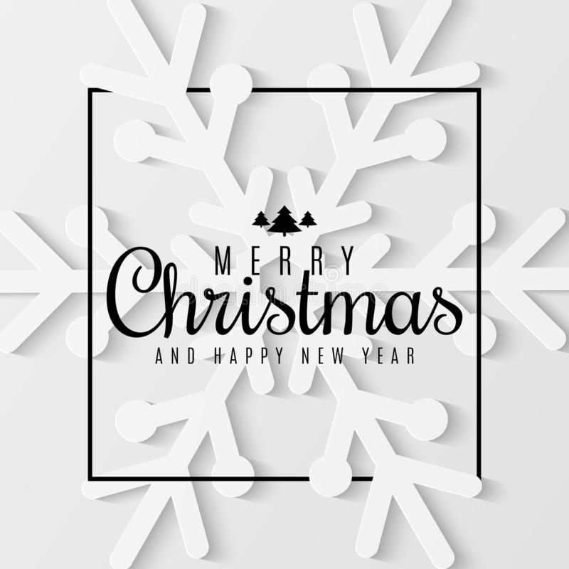 Christmas greeting card. Snowflake cut out of paper. Happy New Year 2019. Seasonal festive web banner. Black text in frame. Vector vector illustration
