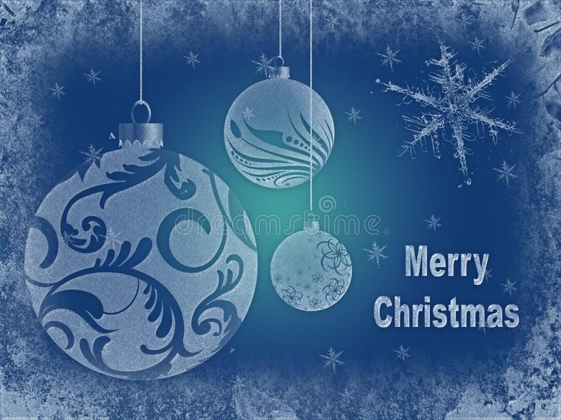 Christmas greeting card with snowflakes, christmas balls and inscription stock illustration