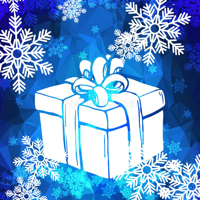 Christmas greeting card with snowflakes and gift box vector illustration