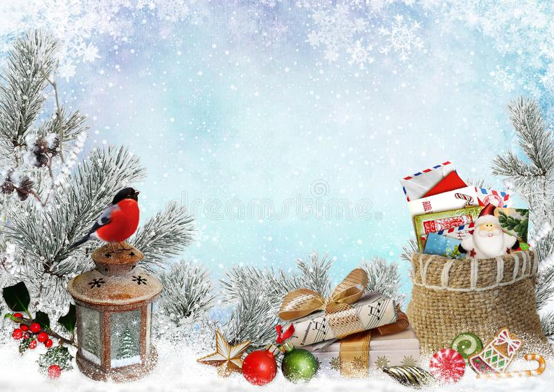 Christmas greeting card with space for text, with gifts, a lantern, a bullfinch, a bag of letters and sweets. Gifts, a bag of congratulatory letters, a lantern royalty free illustration