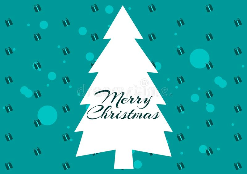 Christmas greeting card with stylized tree, Merry Christmas royalty free illustration