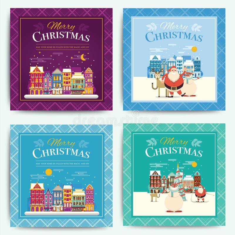 Christmas greeting card template set. Vector xmas invitation lay stock illustration