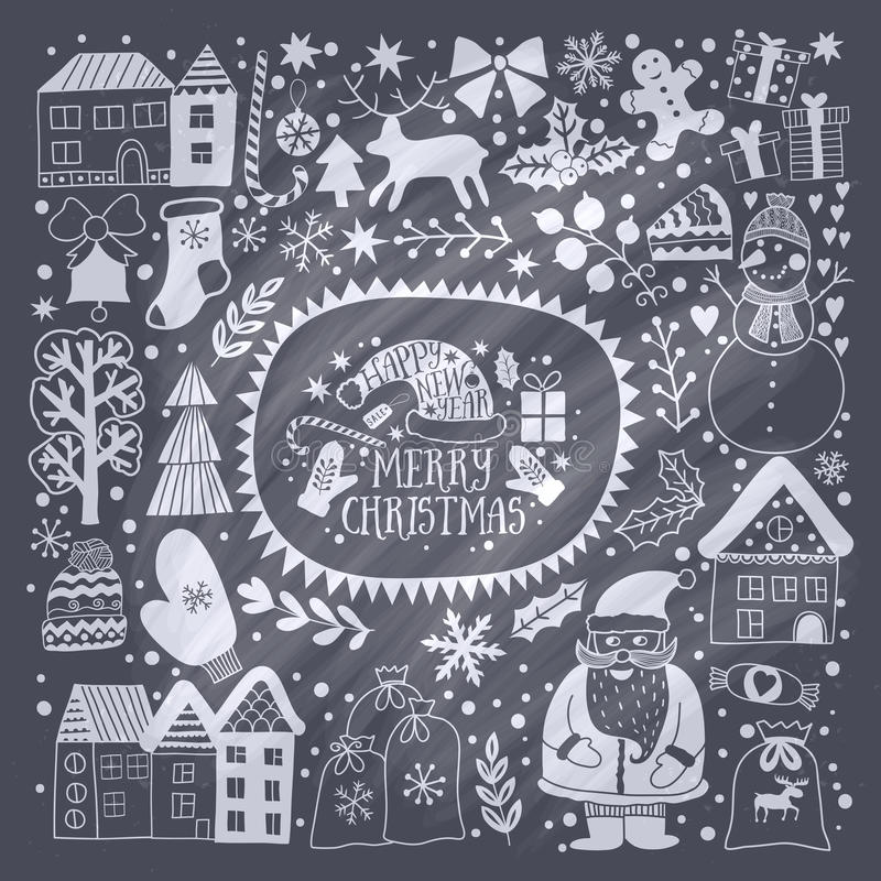 Christmas greeting card template, vector Merry Christmas. Winter holiday design, frame wreath design made of childish doodles: San stock illustration