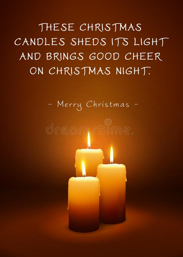 Christmas Greeting Card with Three Candles and Poem vector illustration