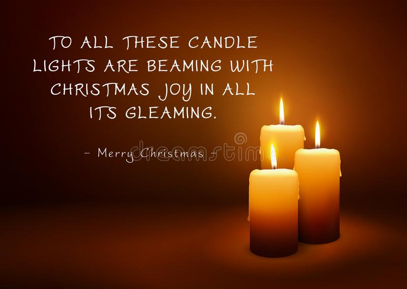 Christmas Greeting Card with Three Candles and Poem stock illustration