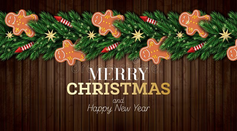 Christmas Greeting Card with Christmas Tree Branches, Red Rockets and Gingerbread Man on Wooden Background. Merry Christmas. Happy New Year. Vector vector illustration