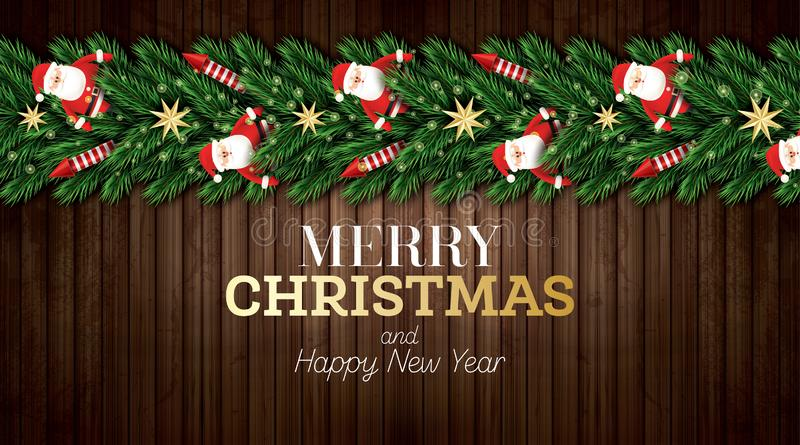Christmas Greeting Card with Christmas Tree Branches, Red Rockets and Santa Claus on Wooden Background. Merry Christmas. Happy New Year. Vector illustration stock illustration
