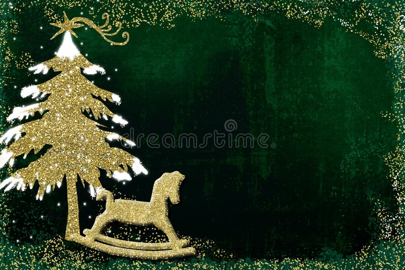 Christmas greeting card tree and rocking horse. royalty free stock photo
