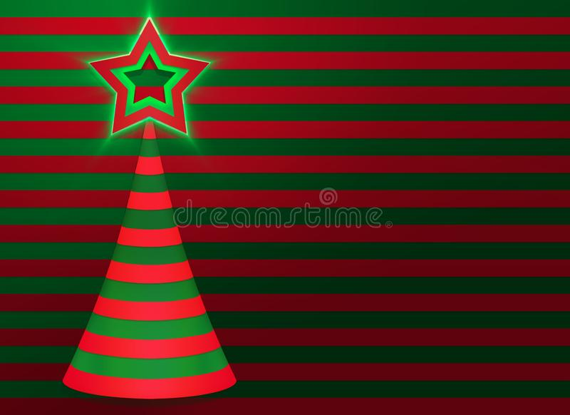 Christmas Greeting card with Christmas tree and star on the top. stock image