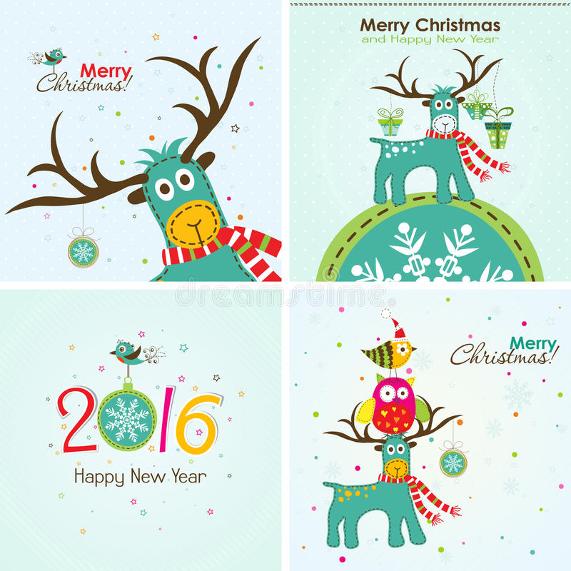 Christmas greeting card, vector. Christmas greeting card with a deer, the owl and the words royalty free illustration