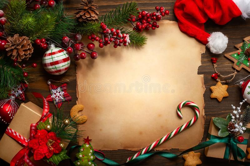 Christmas greeting card with vintage paper for letter Santa Claus royalty free stock photos