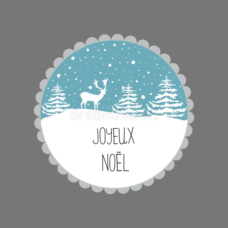 Christmas Greeting Card. White Reindeer Fir Trees Snow Flakes on Blue Background. Decorative Frame Circle. Hand Lettering French stock illustration