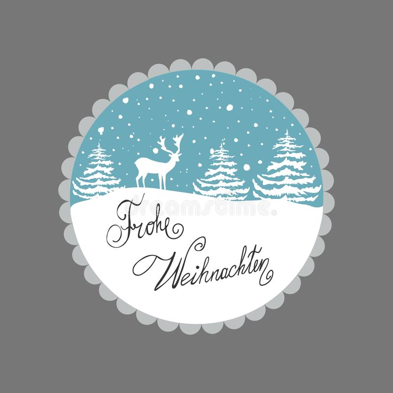 Christmas Greeting Card. White Reindeer Fir Trees Snow Flakes on Blue Background. Decorative Frame. Hand Lettering German vector illustration