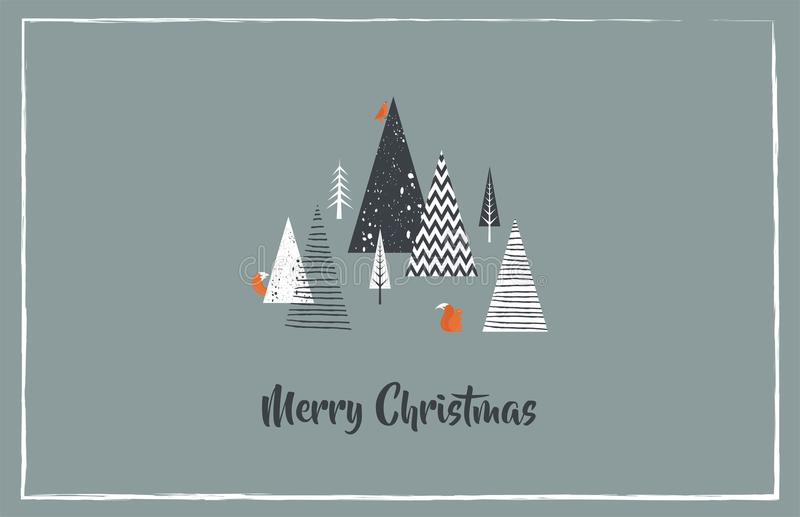 Christmas greeting card with winter forest and forest animals. Abstract Vector vector illustration