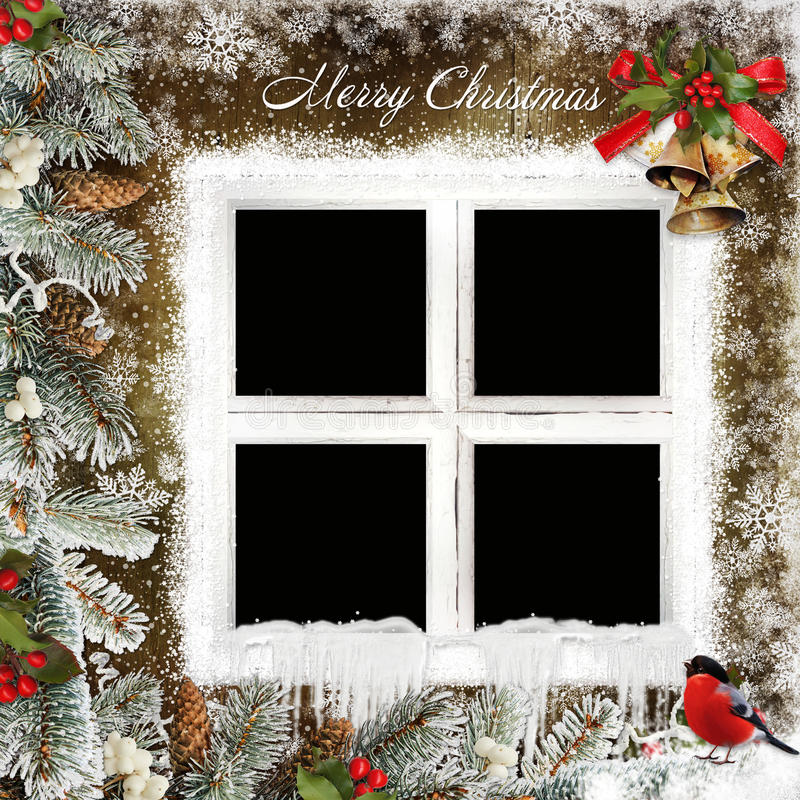 Free Christmas Greeting Card With Frame In The Form Of Windows, Christmas Bells And Pine Branches Royalty Free Stock Photography - 62385667