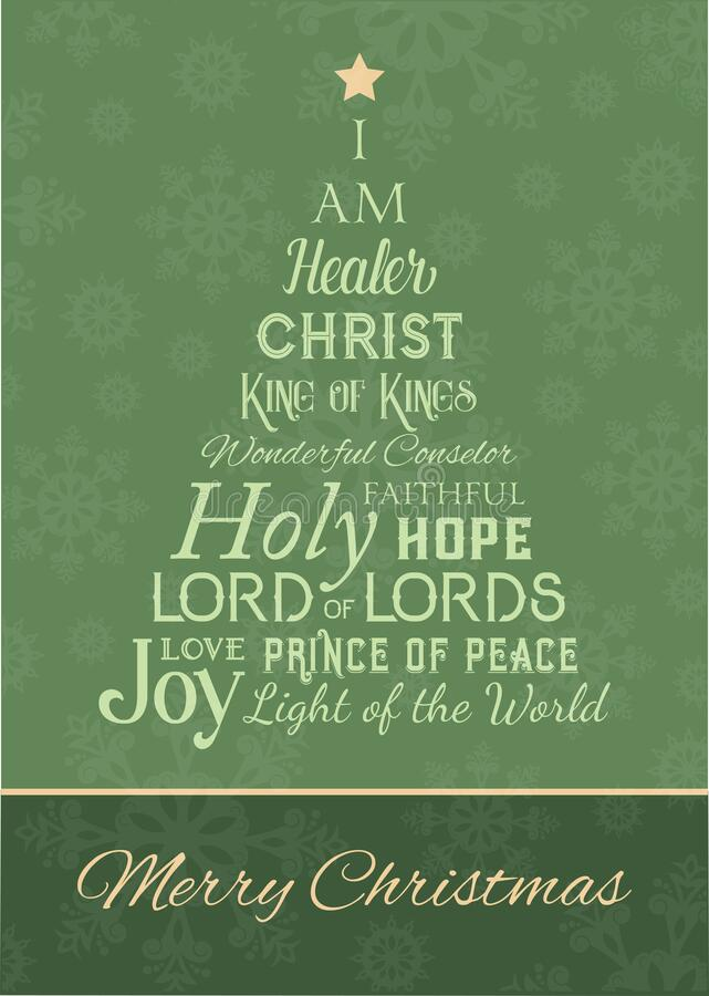 Free Christmas Greeting Card With The Names Of God In The Shape Of A Tree Royalty Free Stock Image - 186388716